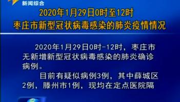 2020年1月29日0时至12时枣庄市新型冠状病毒感染的肺炎疫情情况