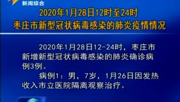2020年1月28日12时至24时枣庄市新型冠状病毒感染的肺炎疫情情况