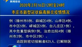 2020年2月16日12时至24时枣庄市新型冠状病毒肺炎疫情情况