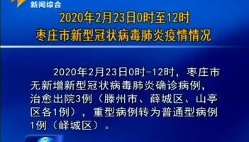2020年2月23日0时至12时枣庄市新型冠状病毒肺炎疫情情况