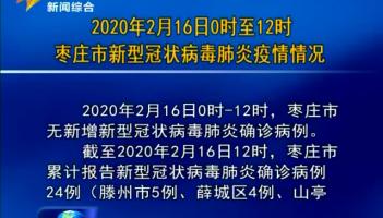 2020年2月16日0时至12时枣庄市新型冠状病毒肺炎疫情情况